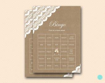 Burlap Lace Bridal Shower Bingo Cards, Printable Prefilled bingo cards, Rustic Bridal Shower Games, Games, Wedding Shower Games BS34