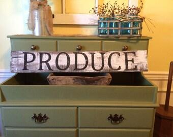 Farmhouse White Wash Produce Kitchen Sign