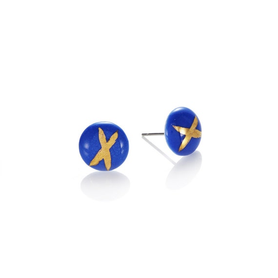 blue X porcelain round Studs with 22k Gold polka dot