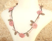 Turkish OYA Lace - Spring folower Necklace/Salmon pink - Crocheted Jewelry Wedding Bib Flowers Accessories Dresses Jewelry