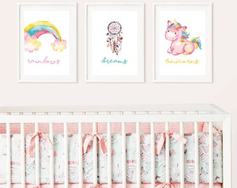 Unicorn Rainbow dreams • Nursery • Baby room Wall prints - perfect gift for baby showers, christenings, births and first birthdays