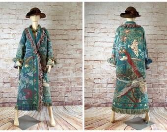 1980s vintage Tapestry blanket long coat