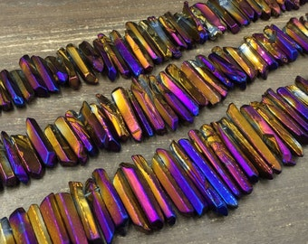 Titanium Purple&Gold Crystal points Polished Crystal Quartz point Beads Bulk Crystal Stick beads top drilled Graduated 5-9*17-42mm