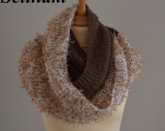 Knit Infinity Scarf Brown Creme