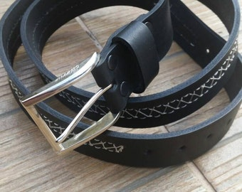 "Handmade Genuine Leather belt - 1.25"" wide, jacketed belt, Solid Buckle, Black Mens Belt, hand-stitching"