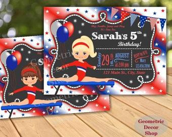 Birthday Invitation / Gymnastics Invitation / Gymnastic Invitation / Party Invite / Gymnastic Invitations / Girl Red Blue White  BDG6