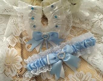 WEDDING GARTER and HORSESHOE set white and baby blue bride garter satin lace heart diamantes Bridal Gift something blue traditional