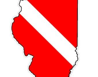 Illinois State (B14) Diver Down Flag Yeti Tumbler Decal Sticker Laptop