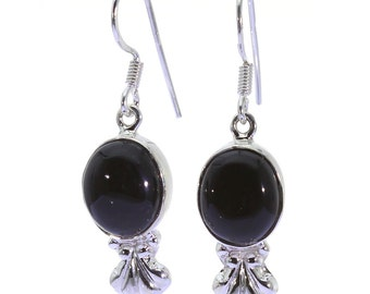 Black Onyx Earrings, 925 Sterling Silver, Unique only 1 piece available! color black, weight 5.8g, #38433