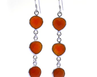 Carnelian Earrings, 925 Sterling Silver, Unique only 1 piece available! color orange, weight 4.7g, #37373