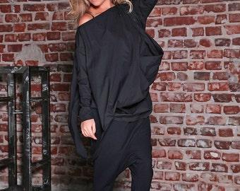 Maxi Pants/ Drop Crotch Pants/ Plus Size Pants/ Aladdin Pants/ Asymmetric Pants/ Black Trousers/ Women Trousers/ Baggy Pants/ Loose Pants