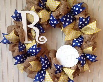 Volleyball wreath, custom burlap volleyball wreath, monogram sports wreath, initial wreath, volleyball decor, sports wreath, team wreath