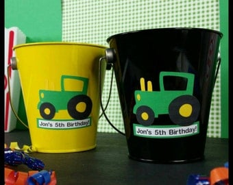 10 Personalized Tractor Themed Metal Favor Pails, Tractor Party Favors