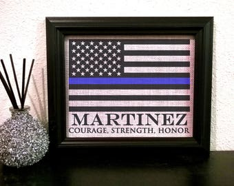 White burlap, Police officer gift, Police Wife gift, Burlap Thin Blue Line, Police Gift, Police graduation gift, Police sign, Police Flag