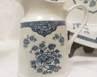 Blue White Floral Creamer Royal Staffordshire Old Pekin Ironstone by J & G Meakin