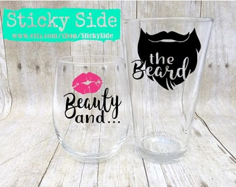 Beauty and the Beard | Bearded Guy Gift | Couple glass set | Engagement glasses | Wedding glasses | Couples gift set | Beard | Beauty