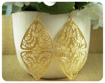 Gold Plated Filigree, Double Dangle Earring