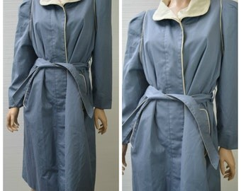 50% OFF everything in shop--- Braetan 1970's Blue Button Up Trench Coat