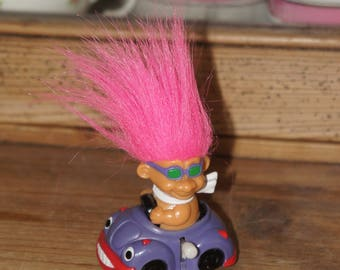Vintage Collectible Russ 1980s Cool Pink Hair Wind Up Racing Troll In Car, Collectible, Gift, Brother, Sister, Friend, Daughter, Boyfriend