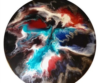 "Resin art "" nebula "", 60 cm round"