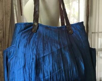 Tote bag, shopping bag, handmade bag, gym bag, beach bag, bag with handles, satin bag, blue bag, blue