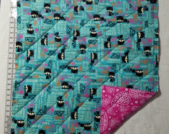 Quilted Flannel Cotton Cat Blanket/Mat - Turquoise Blue Cat, Pink Back