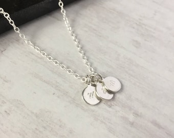 Trio Personalised Discs Sterling Silver Necklace/Personalised Initial Disc/Letter/Number/Charm/Everyday Wear/Layered/Multiple/Gift/UK