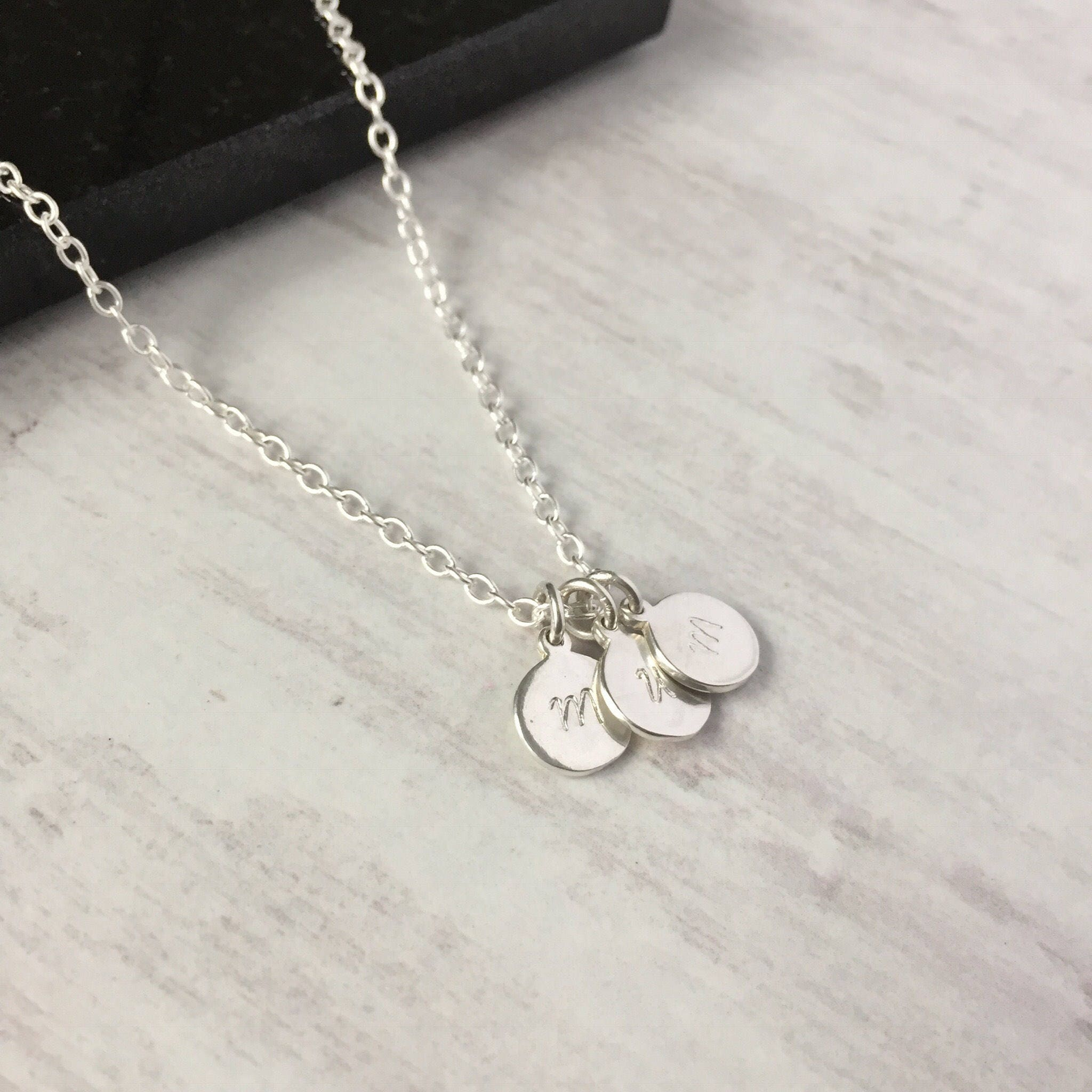 sterling silver triple initial disc necklace personalised. Black Bedroom Furniture Sets. Home Design Ideas