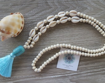Tassel Necklace Turquoise White Wood Beads Handmade Cowrie Shells Beach Wear Resort Wear