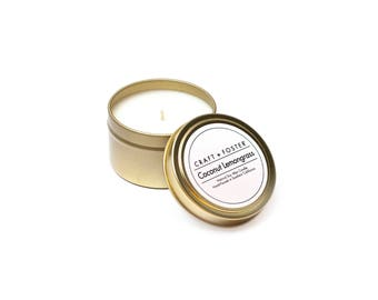 Coconut Lemongrass Natural Soy Wax Candle- 6oz Tin