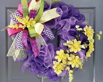 Purple and Yellow Ruffle Wreath