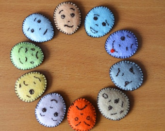 Smiley, set of 10 emoticons - Educational game for baby – Teach emotions – Smileys – Cards-face - PROMOTION - price reduced!