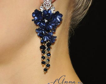 Blue long earrings with flowers Navy Blue floral earrings Navy Blue Earrings Blue Dangle Earrings Drop Earring Navy Blue long earrings gift