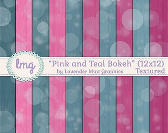 Pink and Teal Digital Paper, Bokeh Backgrounds, Watercolor Papers, Boho Patterns, Bokeh Effect Paper, Instant Download, Commercial Use