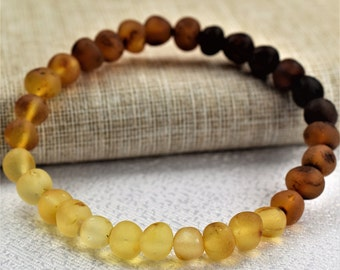 Amber bracelet, raw amber bracelet for adults, Adult Baltic Amber Bracelet, High quality amber. Genuine Baltic Amber. multicolour beads.