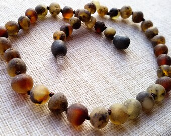 Raw Baby Amber Teething Necklace, Amber necklace, Baltic amber, Genuine Baltic Amber, Baltic amber, Raw amber, Baby amber necklace.