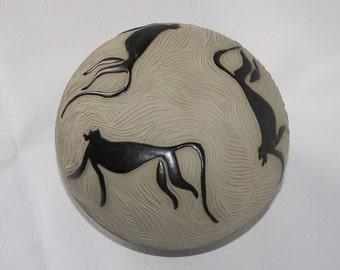 1990's Pottery Stone Healer, Turned Pottery, Stoneware, Endangered Chimpanzee, Rattles