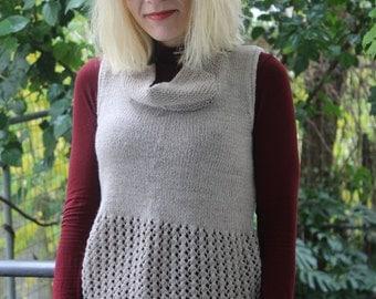 Beige Knit Vest - Knitted  Vest -  Handknit Tank Top - Handknitted Girls Vest  - Lace Vest Top