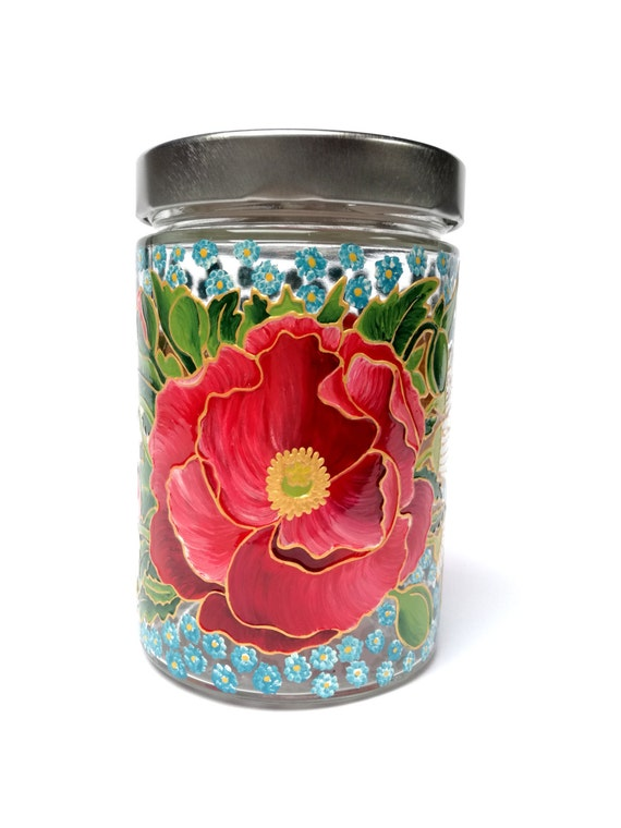 Hostess gift painted glass decoration jar with lids kitchen for Kitchen jar decoration