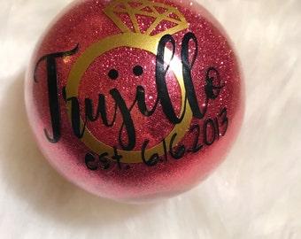 Custom Wedding Date Glitter Christmas Ornament | Bridesmadi Gift | Wedding Gift | Stocking Stuffer | Christmas Ornament | Christmas Gift