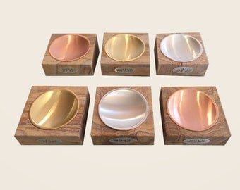 Seder Plate made of sandstone, brass, copper and aluminum