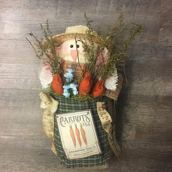 OOAK Handmade Rustic Burlap Spring Bunny and Carrots