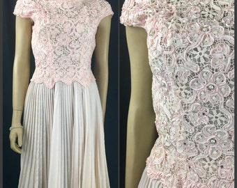 """SALE Vintage 1960s Pink Fit and Flare Dress 26"""" Waist 60s Party Dress by Carlye Guipure Lace Full Skirt Accordion Pleats Beaded Formal Prom"""