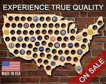 La bière Cap carte de USA - bois de bouleau belle nouveau! -Porte-bouchon de bière artisanale USA, cadeaux de Noël Cool pour hommes, mari, papa