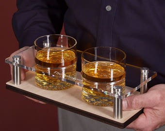 Personalized Whiskey Tray with Buckman Rocks Glasses 3 pc Set - Great Gift Ideas