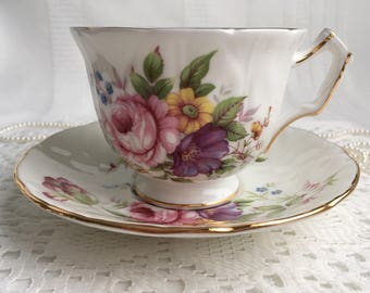 Aynsley China Tea Cup and Saucer, Pretty Pink, Purple, Blue and Yellow Floral with Gold Trim