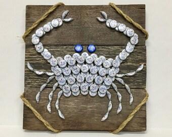 White Crab Bottle Cap Wall Art