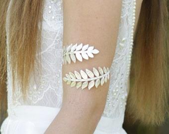 Upper Arm Cuff Bracelet Silver Arm Band Silver Arm Bracelet Leaf Bracelet Bridal Bracelet bridesmaid bracelet Prom Bracelet wedding bracelet