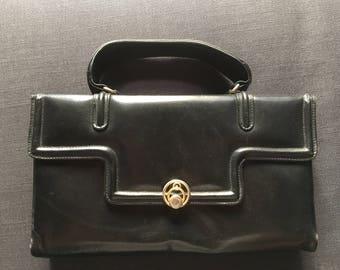 Vintage, 60's black leather little hand bag