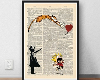 Calvin and Hobbes Vs Banksy Balloon Girl art print home decor present gift Moc dictionary page